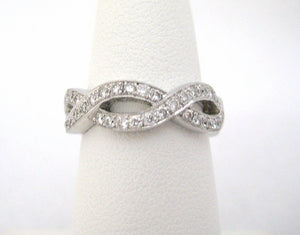 Intertwined Diamond and White Gold Eternity Band