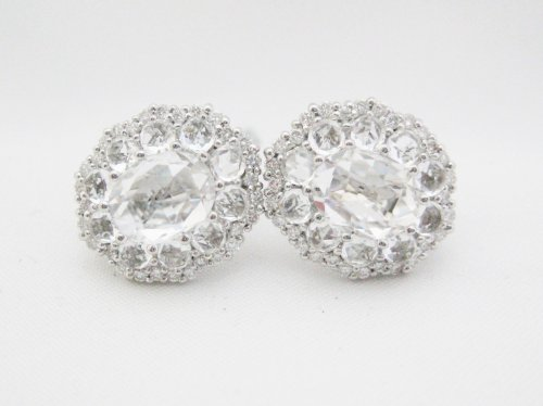 Italian Oval White Topaz Earrings