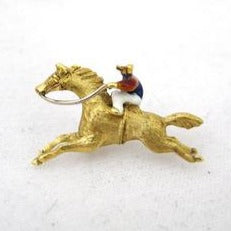 Jockey Riding Horse Tie Tack with Enamel