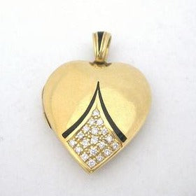 Art Deco Enamel and Diamond Heart Locket