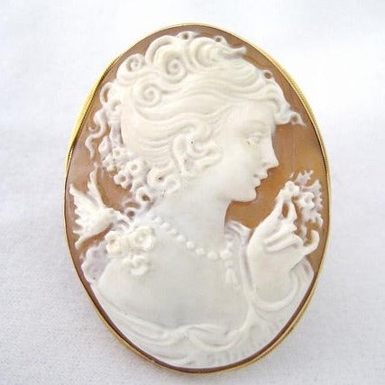 Cameo Pin and Pendant with Bird on Shoulder