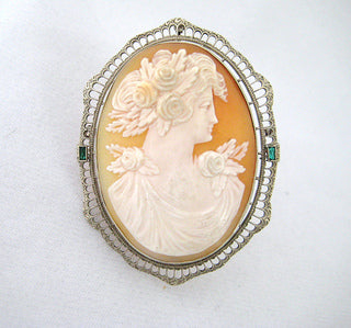 Large Cameo Pin of Woman with Three Roses in Her Hair