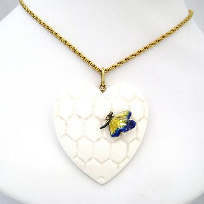 Carved Ivory Heart Pendant with Enamel Butterfly