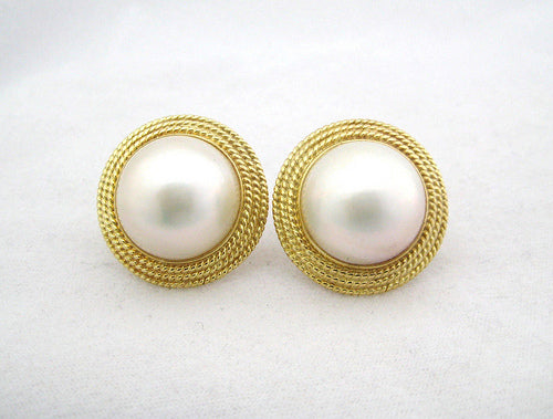 Mabe Pearl Earrings with Rope Style Frame