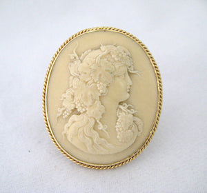 Lava Cameo Pin of Woman with Grape Vines