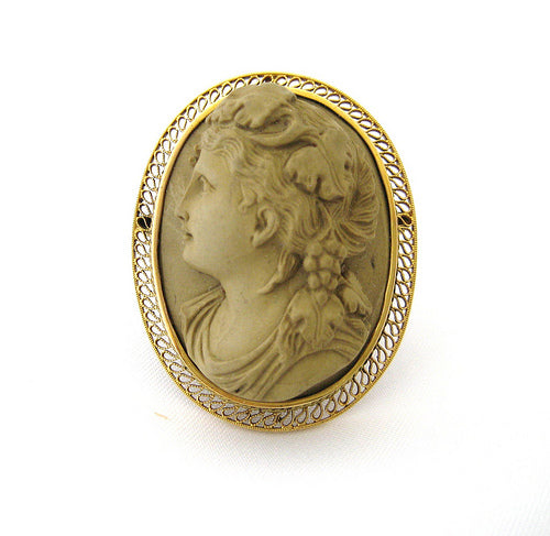 Lava Cameo Pin of Woman with Grapes in her Hair