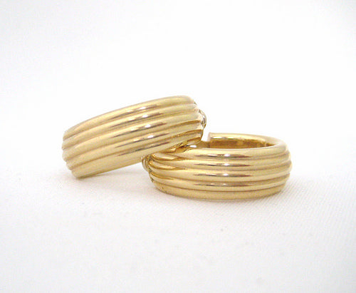 Gold Hoops with Ribbed Design