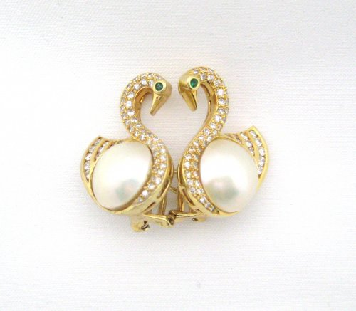 Mabe Pearl Swan Earrings with Diamonds