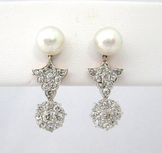 Cultured Pearl with Diamond Drop Earrings