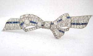 Edwardian Diamond and Sapphire Bow Pin