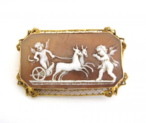 Cupids and Chariot Cameo Pin
