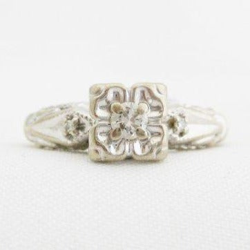 Diamond Ring with Square Head with Floral Motif