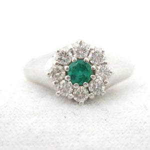 Sweet Emerald Center Surrounded by Diamonds Ring