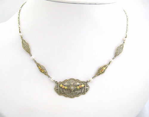 Tri Color Filigree Neckpiece with Pearls and Diamond