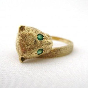 Gold Leopard Ring with Emerald Eyes