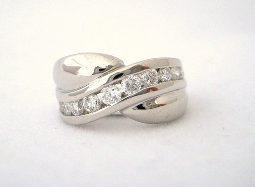 Heavy Platinum and Diamond Ring