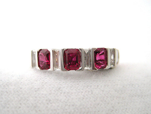 Emerald Shaped Rubies with Four Straight Baguette Diamonds Band