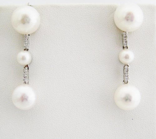 Three Pearl Drop Earrings with Diamond Detail