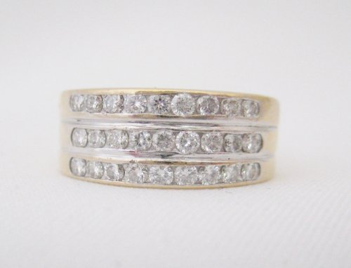 Three Row Channel Set Diamond Band
