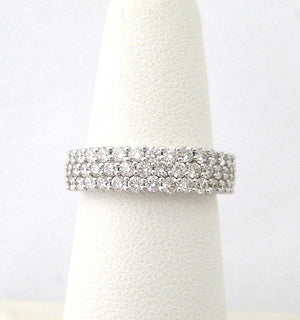 Three Row Pave Diamond Band