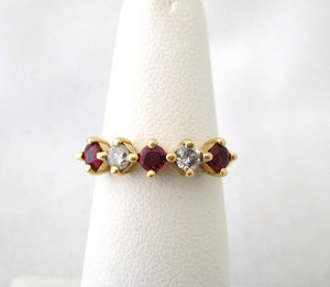 Three Ruby and Two Diamond Ring