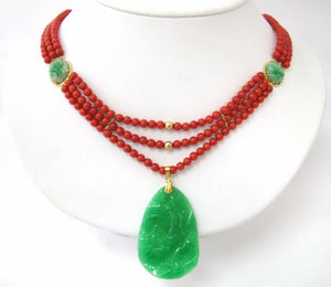 Three Strands of Coral with Four Stations of Jade