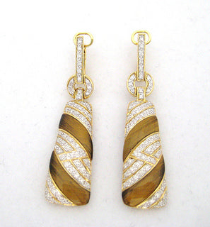Tiger Eye and Diamond Drop Earrings