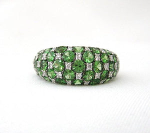 Tsavorite and Diamond Pave Dome Style Ring