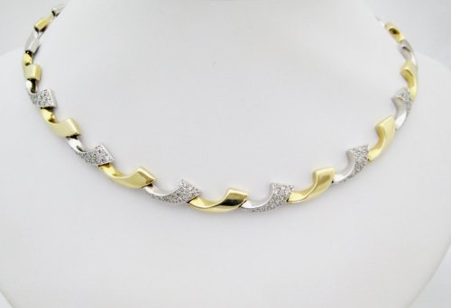 Two Tone Gold Neckpiece with Diamond Detail