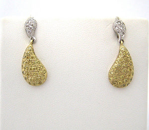 Drop Earrings Encrusted with White and Yellow Diamonds