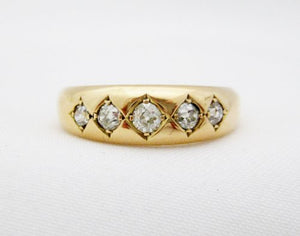 Victorian Diamond Band with Diamonds set in Diamond Shapes