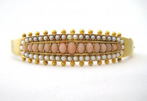 Cabochon Angelskin Coral and Natural Pearls Bangle