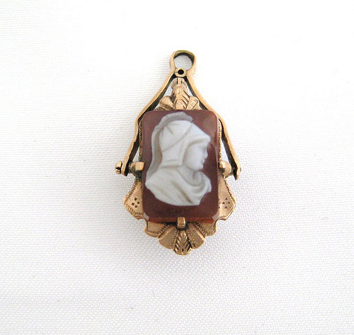 Victorian Cameo Watch Fob with a Reverse Side of Agate dupe