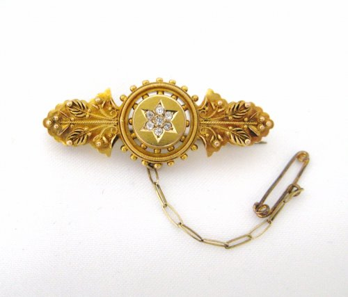 Victorian English Diamond Star Center Pin