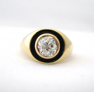 Victorian Mine Cut Diamond Surrounded by Enamel Ring