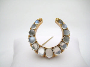 Victorian Moonstone Brooch in Horseshoe Shape