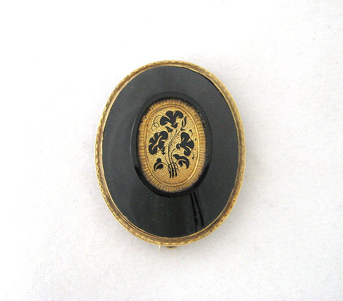 Victorian Oval Onyx and Enamel Pin