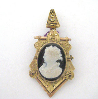 Victorian Stone Cameo and Pendant