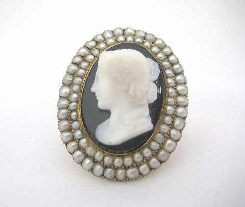 Victorian Stone Cameo Framed in Pearls