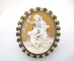 Victorian Three Cherub Cameo Framed in Pearls
