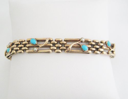 Victorian Turquoise and Pearl Bracelet