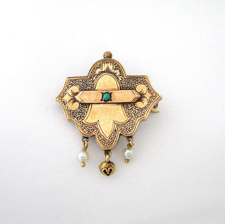 Victorian Turquoise and Pearl Watch Pin