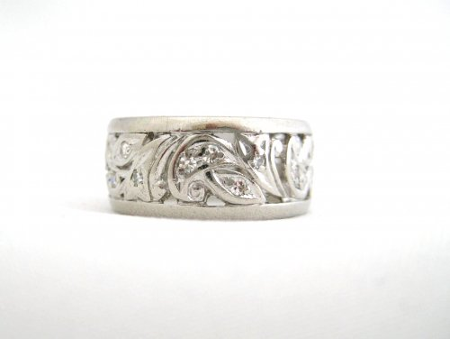 Vintage Platinum and Diamond Wide Band with Open Work