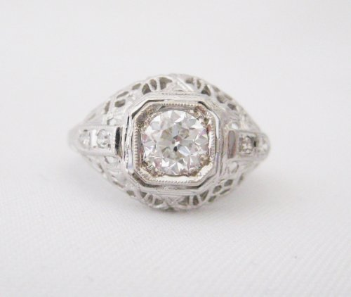 Vintage .56 carat Center Diamond Ring in Octagon Bezel with Filigree