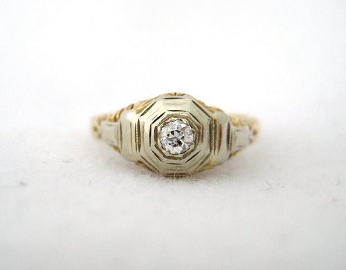 Vintage Two Tone Gold Diamond Ring with Octagon Mounting