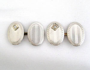 Two Tone Gold Oval Shaped Cufflinks