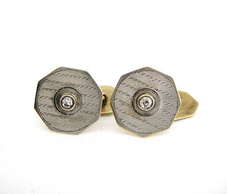 Two Tone Gold Cufflinks with Diamond Center