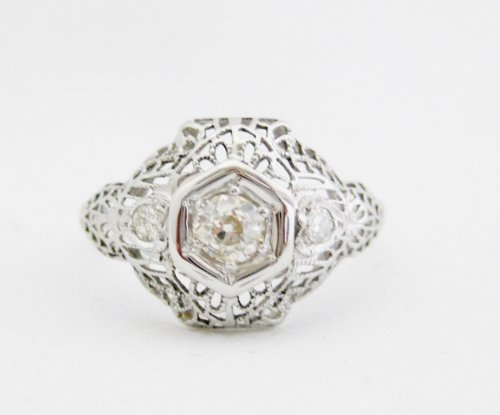 Vintage Diamond Ring with Filigree