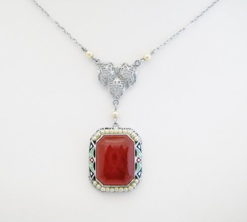 Vintage Carnelian Surrounded by Seed Pearls and Enamel