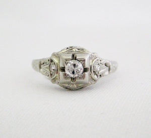 Vintage Diamond Ring with Center Stone in Square Setting